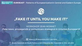 """Dezbaterea """"Fake news, propagandă și comunicare strategică în Uniunea Europeană"""" la FCRP, 13 decembrie"""