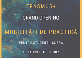 Deschiderea selecției pentru mobilitățile de practică Erasmus+ , marţi 13 noiembrie