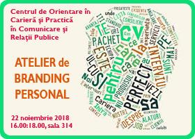 Centrul de Orientare în Carieră: Atelier de branding personal,  joi 22 noiembrie a.c.